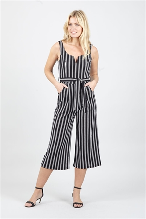 Izabel London 50's 60's Black White Retro Striped Vintage Culotte Jumpsuit