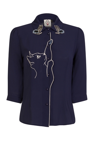 Dancing Days Snow Bird Cat Embroidered Blouse in Night Blue Colour