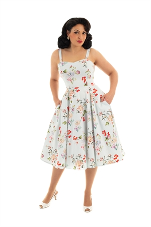 Hearts and Roses 50's Blue Retro's Mix Summer Floral Rockabilly Swing Dress