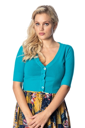 Banned Retro 50's Rockabilly Overload Plain V-Neck Top Pinup Vintage Cardigan in Teal