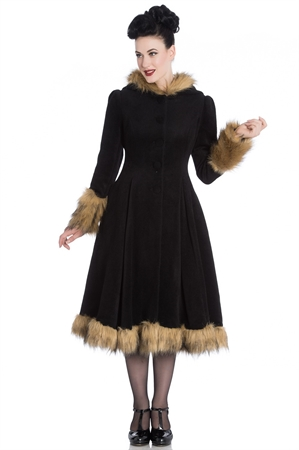Hell Bunny Black Isadora Vintage Swing Coat