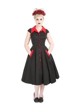 Hearts & Roses Meadow Black Red Swing Dress