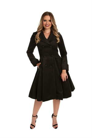 Hearts & Roses 50's Vintage Black Winter  Rockabilly Pleated Swing Coat