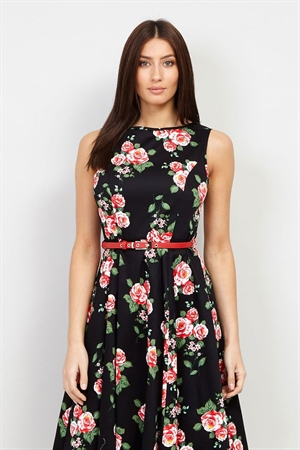 Izabel London 50's Black Retro's Red Roses Floral Rockabilly Swing Dress