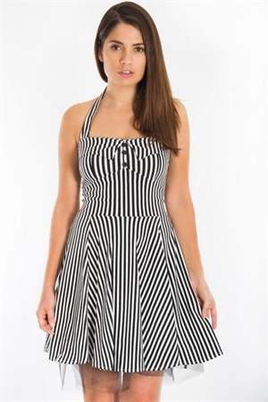 White Black Stripes Mini Dress