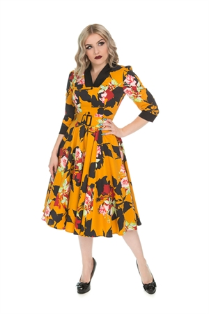 Hearts & Roses 50s Mustard Autumn Floral Swing Dress