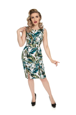 Hearts & Roses 50s Blue Turquoise Leaves Wiggle Dress