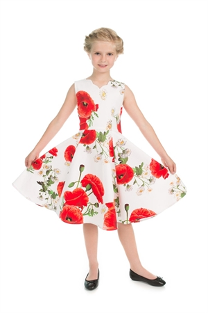 Hearts & Roses Girls White Red Poppy Floral Party Dress