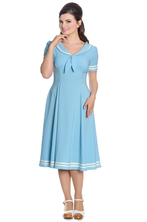 Hell Bunny Ambleside Blue Nautical 1950s Retro Sailor Swing Dress