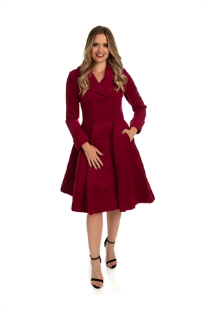 Hearts & Roses 50's Vintage Wine Winter  Rockabilly Pleated Swing Coat