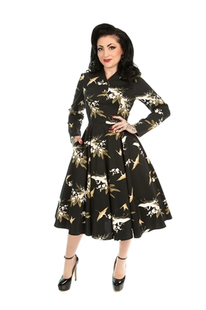 Hearts & Roses 50's Vintage Black Bird & Floral Rockabilly Swing Dress