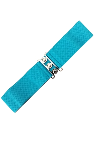 Banned Retro 50s Vintage Stretch Belt in Teal Blue