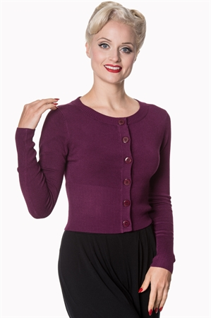 Banned Apparel Retro 50's Dolly Round Neck Rockabilly Pinup Vintage Cardigan in Aubergine