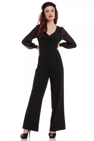 37779fc61a94 Voodoo Vixen Rosemary Black Flared Jumpsuit