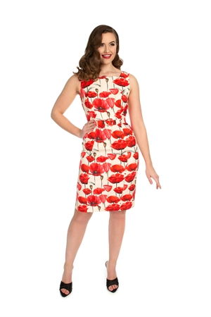 Hearts & Roses 50s White Red Poppy Floral Wiggle Dress
