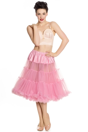 """Hell Bunny Long Petticoat(25-27"""") In Bubble Gum Pink"""