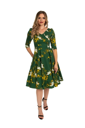 Hearts and Roses 50's Vintage Green Bird Print Mustard Retro Floral Dress