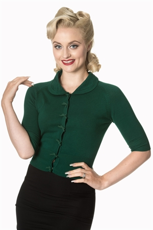 Banned Retro 40's April Bow Rockabilly Plain Peter Pan Collar Vintage Cardigan in Dark Green