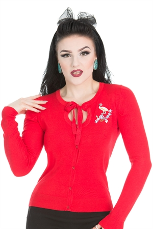 Hearts & Roses 1950s Jean Flamingo Knitted Red Cardigan