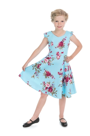 Hearts & Roses Sky Blue Floral Blossoms Swing Dress