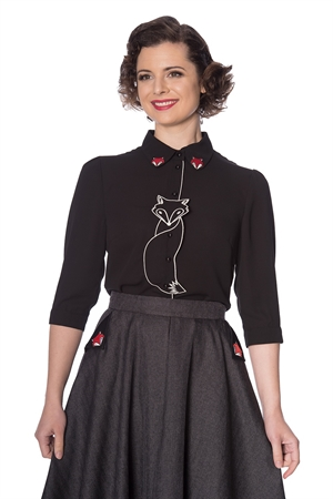 Banned Retro Foxy Fox Vintage Style Blouse Shirt in Black