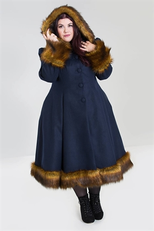 Hell Bunny 50's Robin  Navy Blue Faux Fur Trims Long Swing Coat UK
