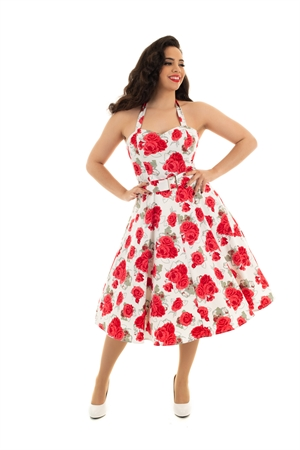 Hearts & Roses 50's Retro White Vanessa Red Rose Halter Rockabilly Swing Dress