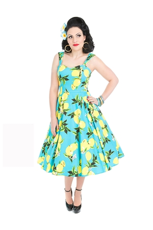 Hearts & Roses Vintage Blue Lemon Floral Swing Dress