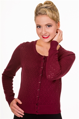 Banned Retro 50s Watch Out Cardigan in Burgundy