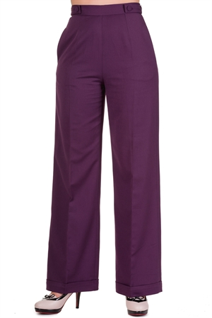 Banned 40s Wide-Leg Party On Classy Trouser In Aubergine