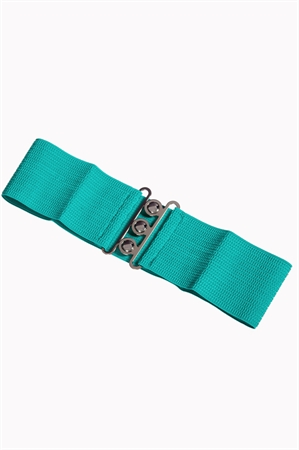 Banned Retro 50s Vintage Stretch Belt in Aqua