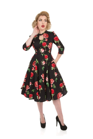 Hearts & Roses Black Red Roses Swing Dress