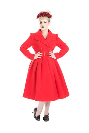 Hearts & Roses Red Vintage Swing Coat