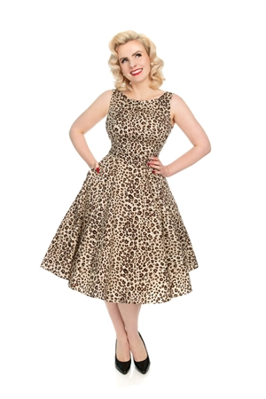 Heats and Roses 50's Vintage White Brown Leopard Print Rockabilly Dress