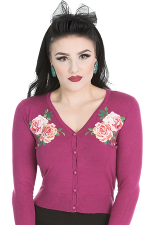 Hearts & Roses 50'S Embroidery Floral Wine Cardigan