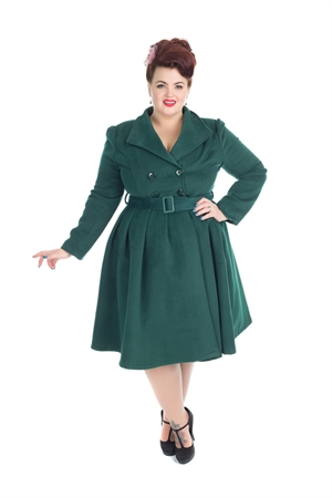 Hearts & Roses London Vintage Green 50's Statement Swing Coat