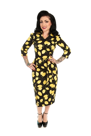 Hearts & Roses 50's Black Vintage Lemon Rockabilly Wiggle Dress