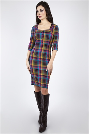 Voodoo Vixen Camilla Plaid Pencil Dress