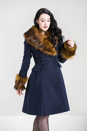 Hell Bunny 50's Vintage Roxy Navy Faux Fur Collar Coat UK