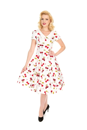 H & R 50s White Red Cherries Summer Swing Dress