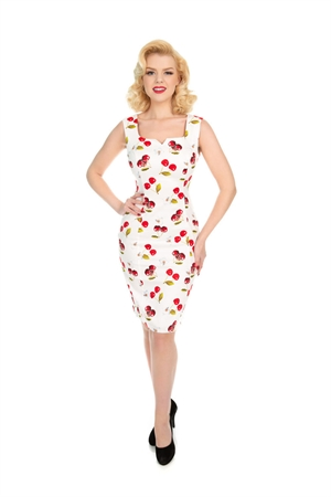 Hearts & Roses Vintage White Red Cherry Wiggle Dress