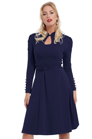 Voodoo Vixen Dita 50s Flared Navy Dress with Cut-out