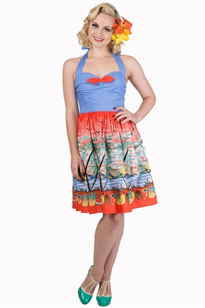 Banned Retro 50's Vintage Tropical Palm Beach Fruits Dress