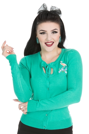 Hearts & Roses Jean Flamingo Knitted Turquoise Cardigan
