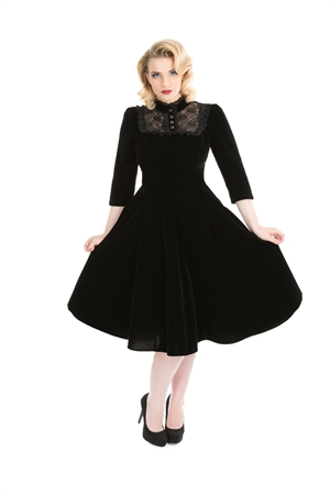 Hearts & Roses 50s Blk Nightshade Evening Velvet Dress