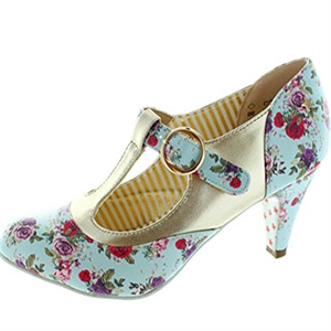 Joe Browns Couture Terrie Vintage Blue Pink Floral Shoe