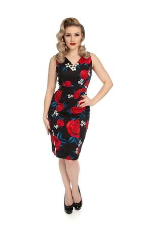 Hearts & Roses 50s Black Retro's Red Floral Wiggle Dress