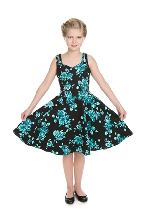 Hearts & Roses Girl's Black Blue Floral Party Dress