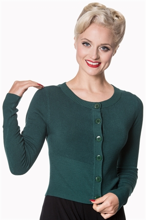 Banned Apparel Retro 50's Dolly Round Neck Rockabilly Pinup Vintage Cardigan in  Forest Green