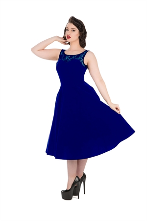 Hearts & Roses 50s Romance Blue Velvet Evening Dress